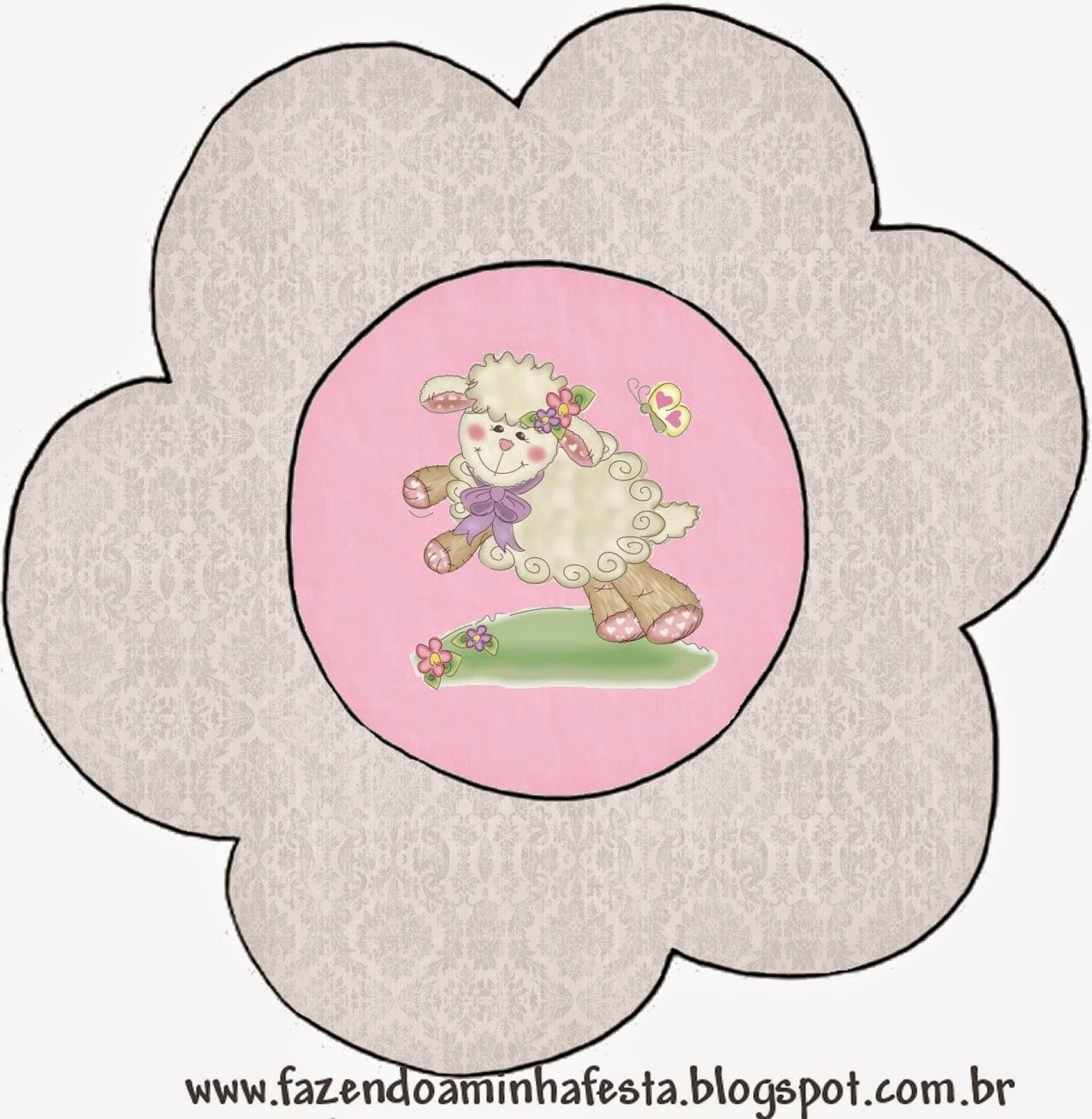 Tarjeta con forma de flor de Ovejita en Fondo Rosa.