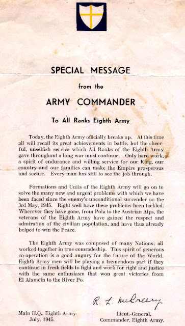 World War 2: Special Message from the (8th) Army Commander