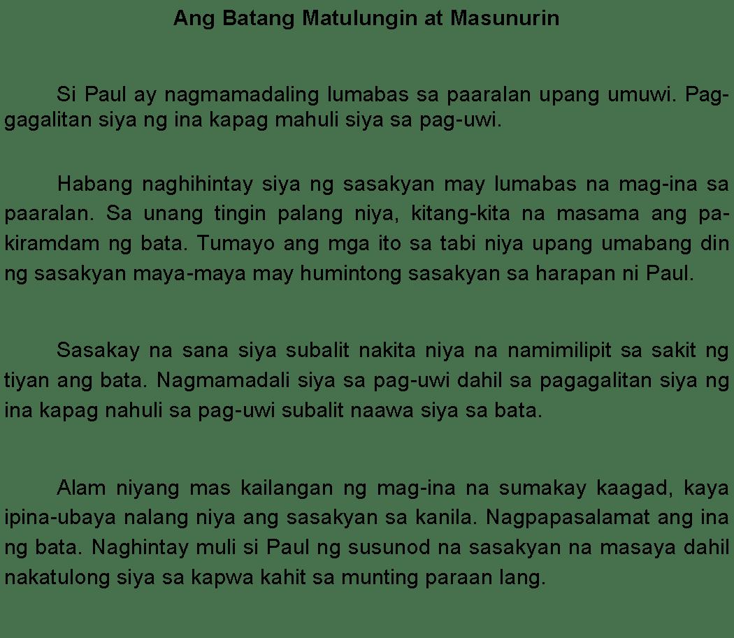 Halimbawa ng Maikling Kwento na Pambata - Philippines Short