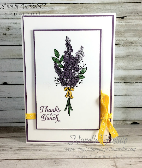 Lots of Lavender - a fantastic stamp set you can get for free - see how here - https://www3.stampinup.com/ECWeb/category/300010/sale-a-bration?dbwsdemoid=4008228