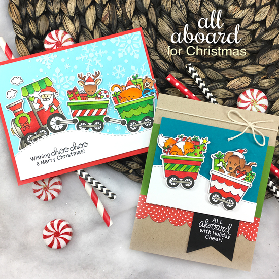 Train Christmas Cards by Jennifer Jackson | All Aboard for Christmas Stamp Set by Newton's Nook Designs #newtonsnook