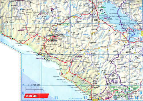 Mapa rodoviário do Sul do Peru