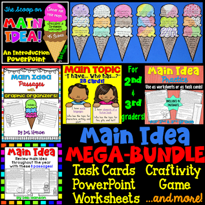 Main Idea Bundle of Activities: Everything you need for a 2nd-3rd grade main idea unit! Main idea worksheets, craftivities, games, lesson plans, and more!