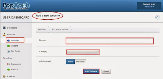 Mendaftarkan Blog Ke Popcash