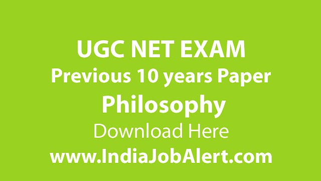 UGC NET Philosophy Previous 10 years Question Paper || Download Here