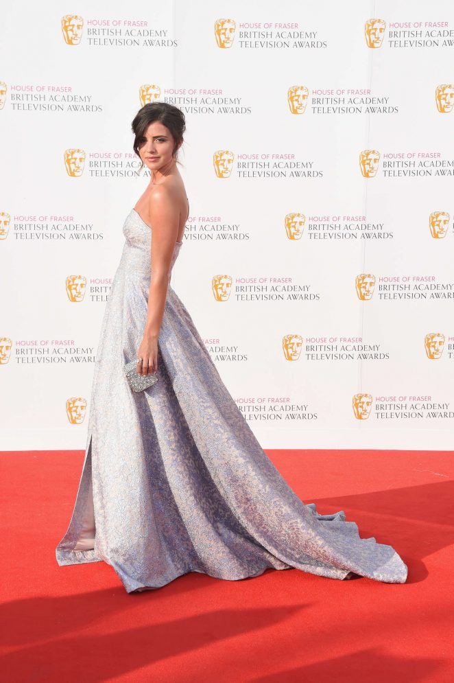 Lucy Mecklenburg in a strapless gown at the BAFTA TV Awards 2016