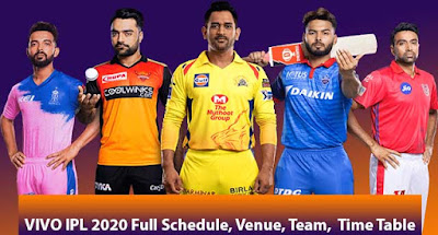VIVO IPL 2020 (Full Schedule, Venue, Team,  Time Table, Point Table