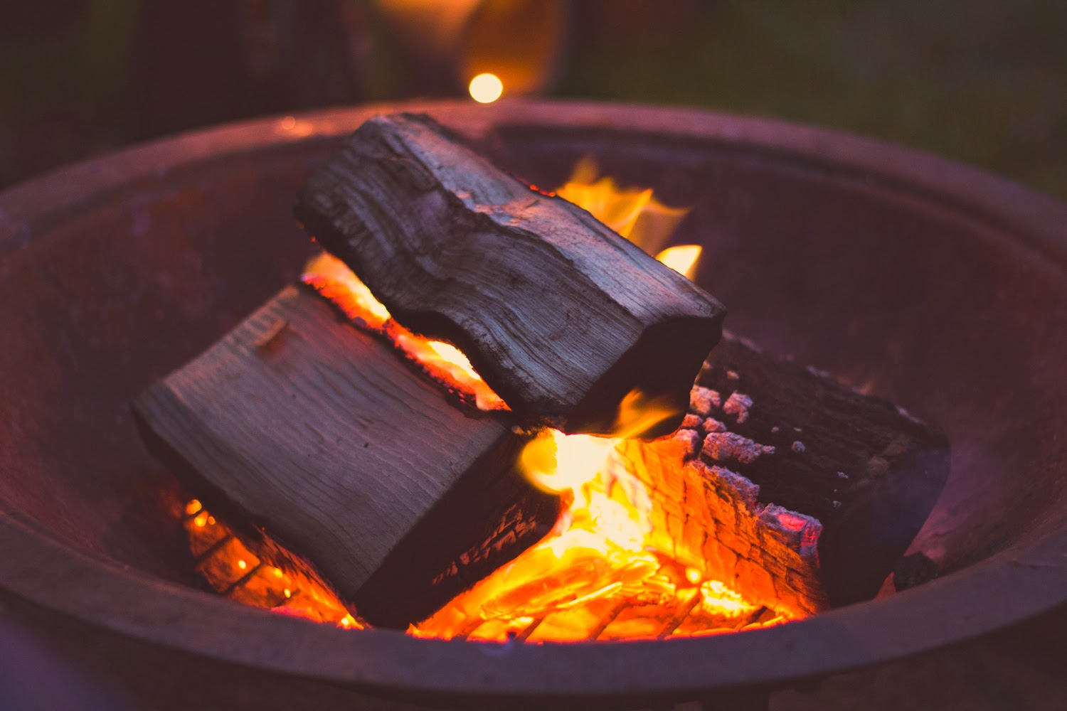 Copper fire pit - ideal for small garden