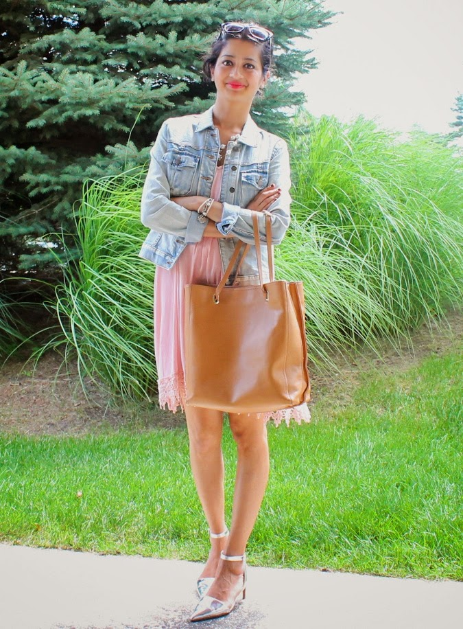 Cami Dress, Denim Jacket, Shopper Tote, Metallic Pumps, Summer 2014, Outfit Ideas, What I wore, Outfits, Indian, Fashion Blogger, Fashion, Style, Fashion Trends,