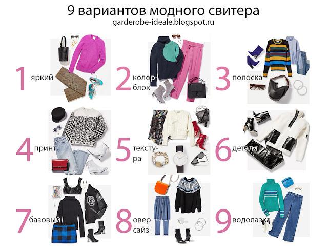 Варианты комплектации модного свитера