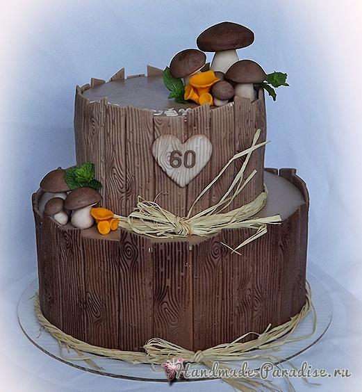 3D торт лесной тематики из сахарной мастики (6)