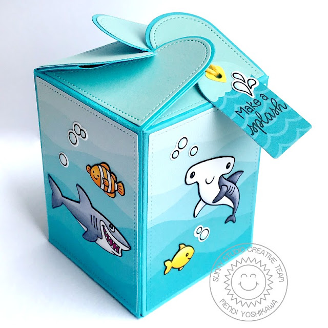 Sunny Studio Stamps: Wrap Around Gift Box with Make A Splash Tag (using Best Fishes Stamps)