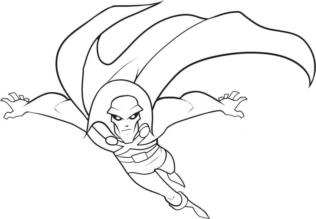 Martian Manhunter Moving Coloring Page Free Printable