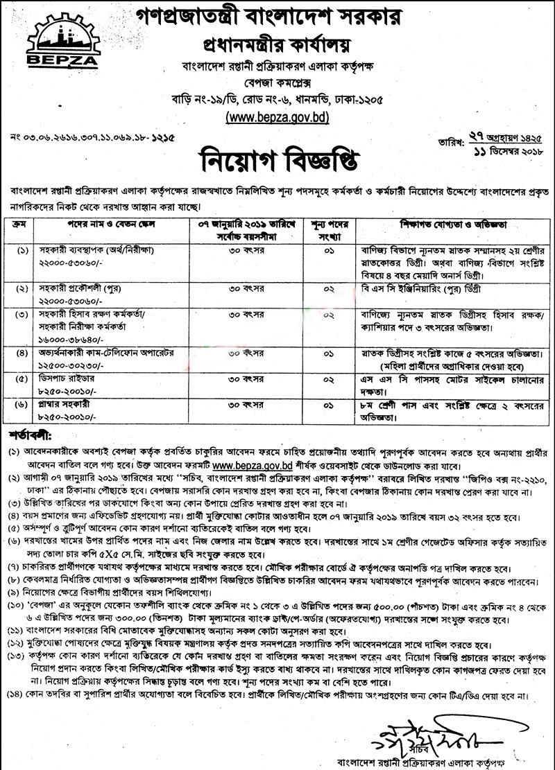Bangladesh Export Processing Zones Authority (BEPZA) Job Application Form