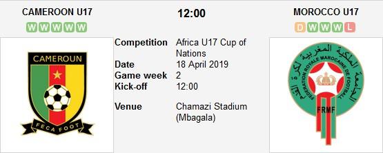 مباراة المغرب و الكاميرون بث مباشر 18/04/2019 كأس أفريقيا للناشئين