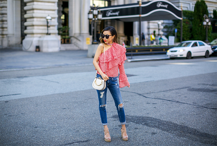 One shoulder ruffled printed cotton gauze top, one shoulder ruffle top, chloe nile bag, kendra scott earrings, ag jeans, tory burch wedges, karen walker super duper sunglasses, san francisco street style, san francisco fashion blog, spring outfit ideas