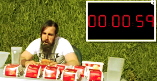 Desafio do Barbudo: É nisso que dá comer 17 Big Macs em 1 hora...