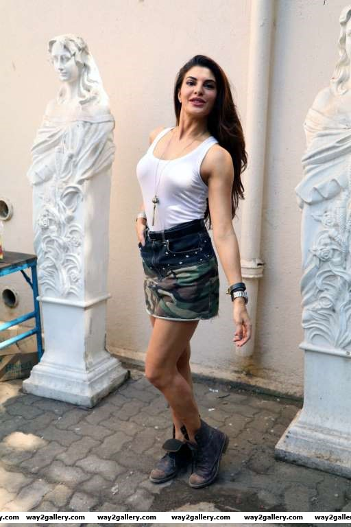 Jacqueline Fernandez poses for photographers on the sets of Dishoom