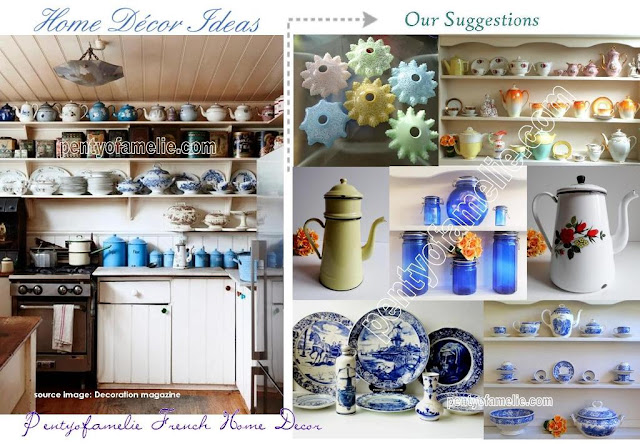 kitchen decorating ideas. Graniteware Teapots, Enamelware Coffee Pots in Yellow, White, Cream background with multicolored Floral motif. Authentic Renowned Porcelain and Ceramics Tea Set. Find also Cobalt Blue Glass Jars, White and Blue Pottery Dinnerware set, as Villeroy Boch, Blue Delftware made in Holland. Old fashioned glass, opale lamp shades, opaline Glass ceiling lights are available.