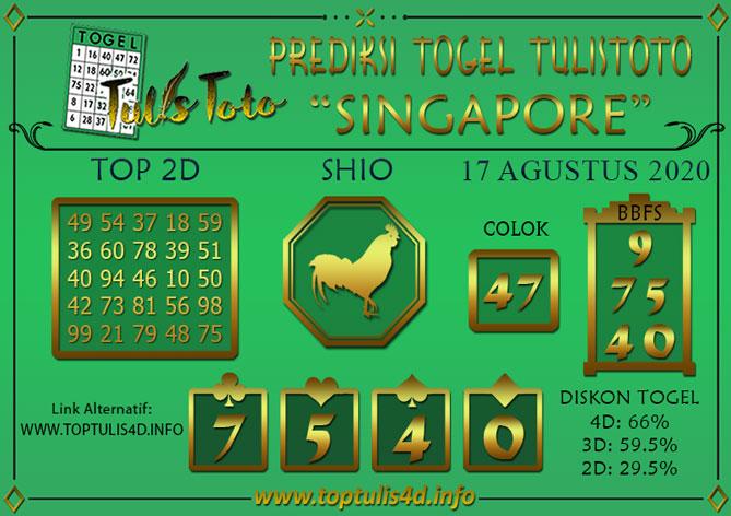 Prediksi Togel SINGAPORE TULISTOTO 17 AGUSTUS 2020