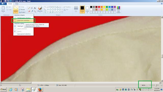 Zoom Sampai 400% untuk memilih area background yang warnanya mau diganti