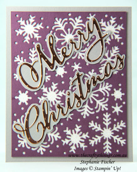 #thecraftythinker  #christmascard  #cardmaking  #blizzard #stampinup , Christmas card, Blizzard die, Merry Christmas dies, Stampin' Up Australia Demonstrator, Stephanie Fischer, Sydney NSW