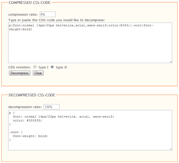 Client side CSS (De)Compressor
