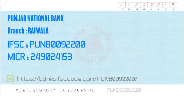 Raiwala PNB Branch IFSC Code