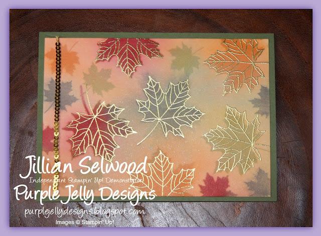 Colourful Season Autumnal Card, Gold sequin trim
