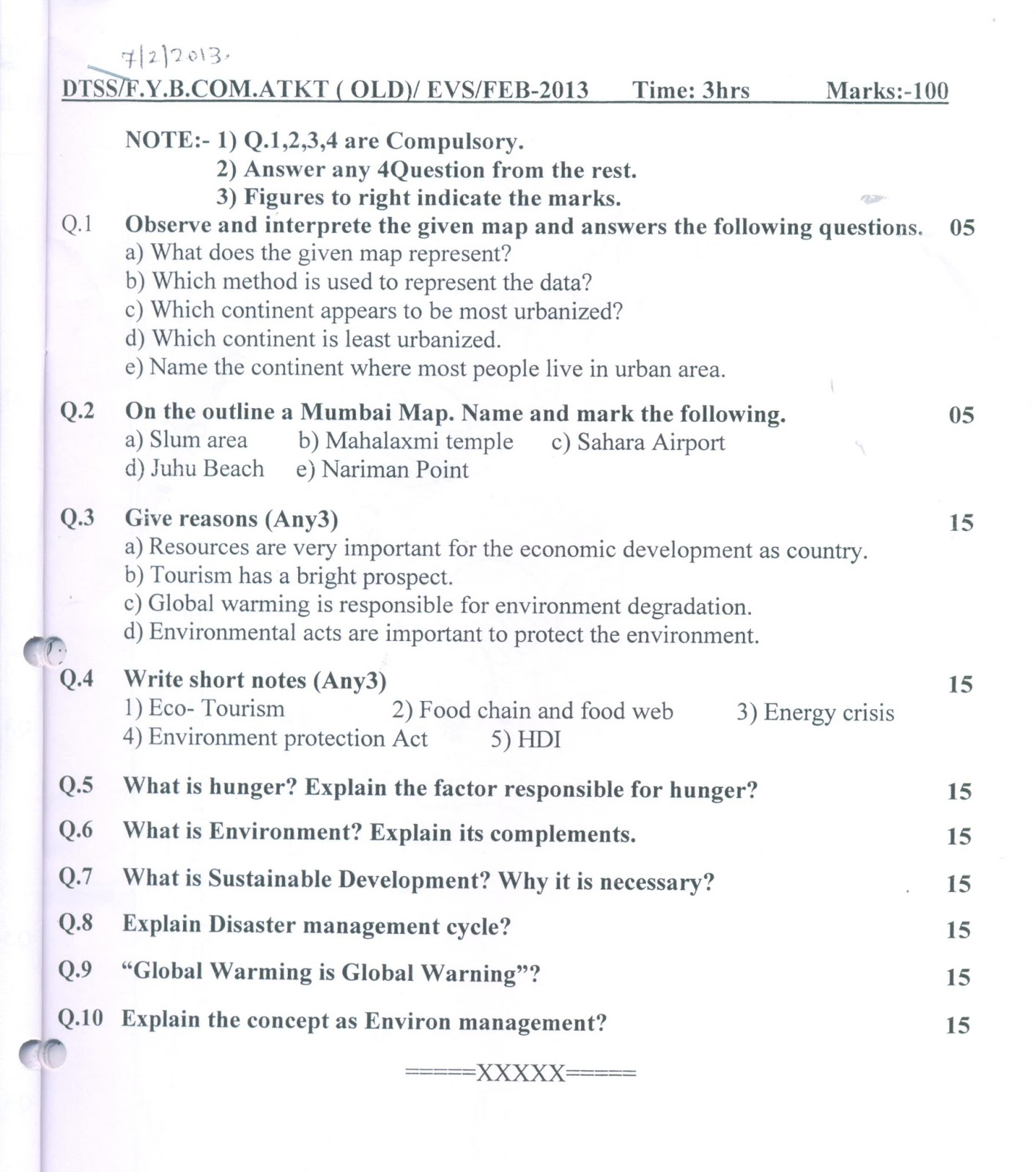 Question Papers Collection: ATKT FYBCOM (EVS OLD)