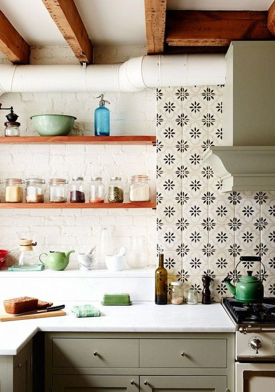 Boho Style Kitchen Tiled Floors