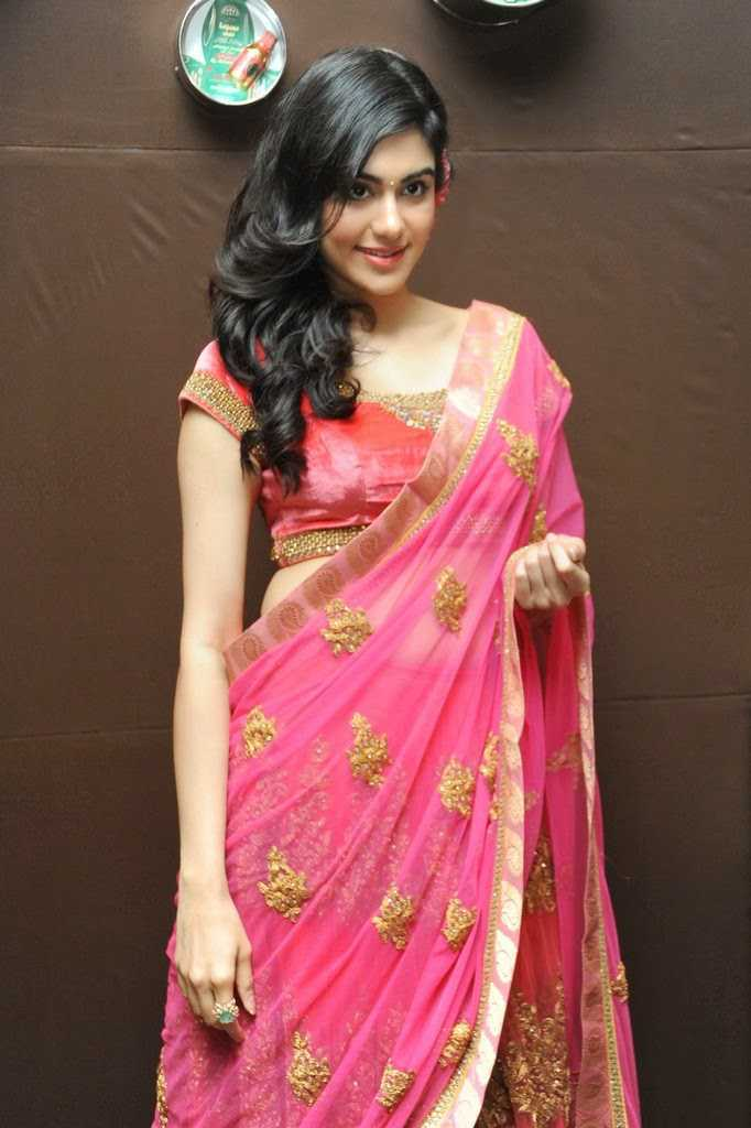 Beautiful Telugu Girl Adah Sharma Long Hair Stills In Transparent Pink Saree