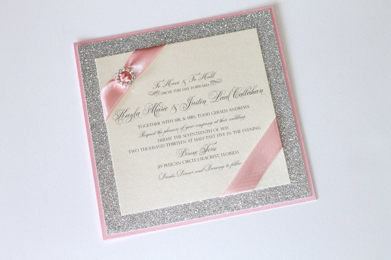 Embellished Paperie Blog Gorgeous Silver Glitter Pink And Ivory Luxe Wedding Invitation Set