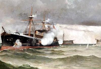 Ilustración del Combate de Angamos a colores