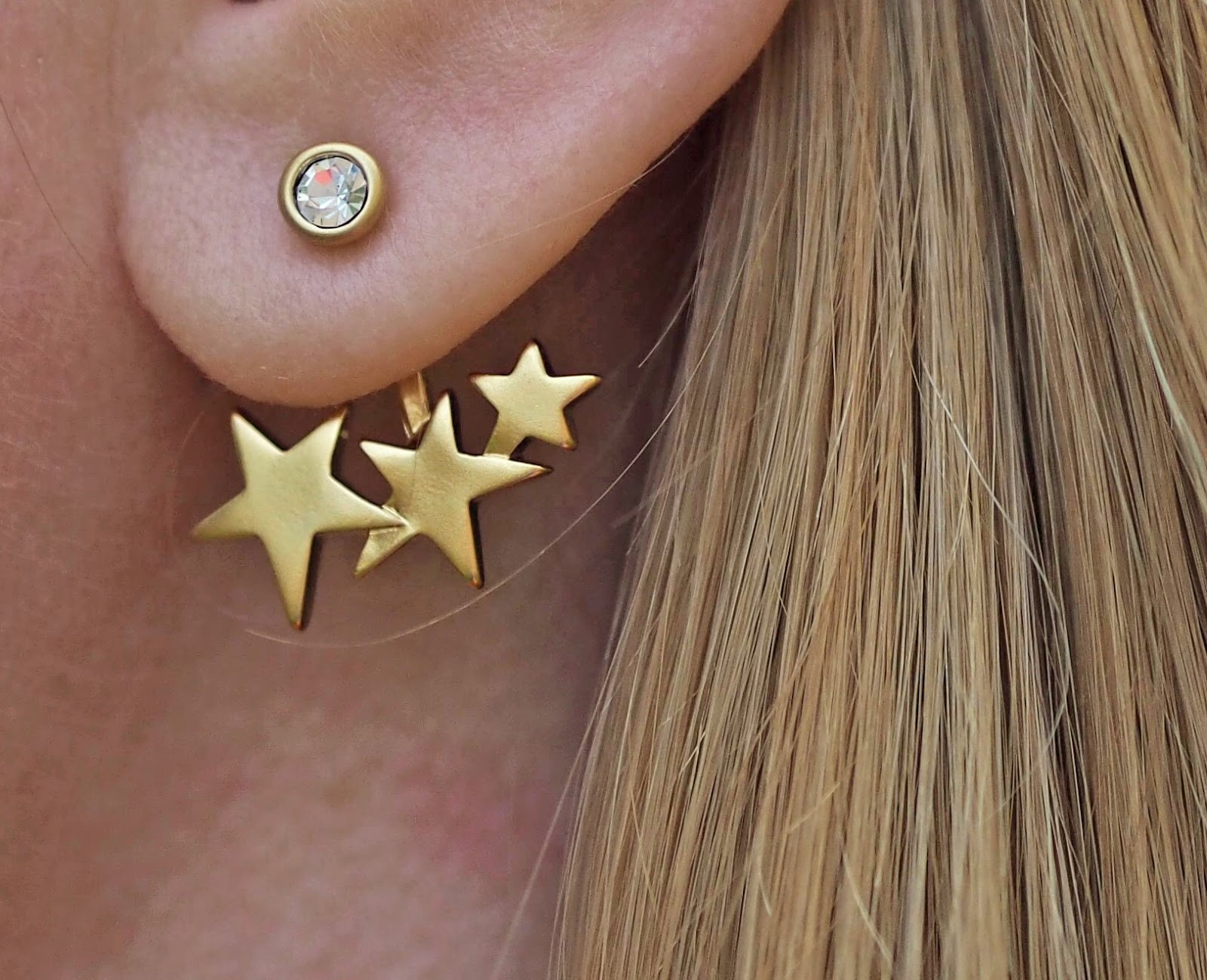 Gold star and crysatl ear jackets by Danon from Lizzy O