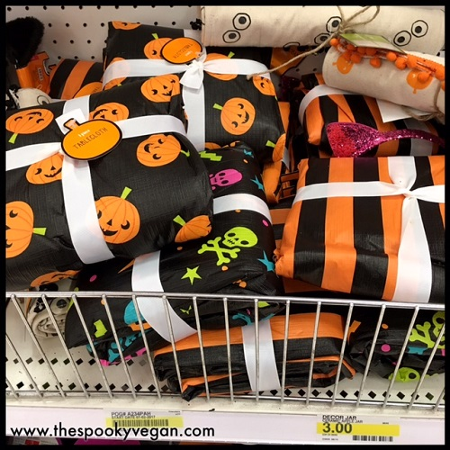 lots of cute plastic tablecloths though i couldnt find a size on these and those - Halloween Target