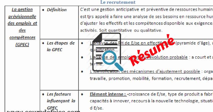 r u00e9sum u00e9 cours grh pdf