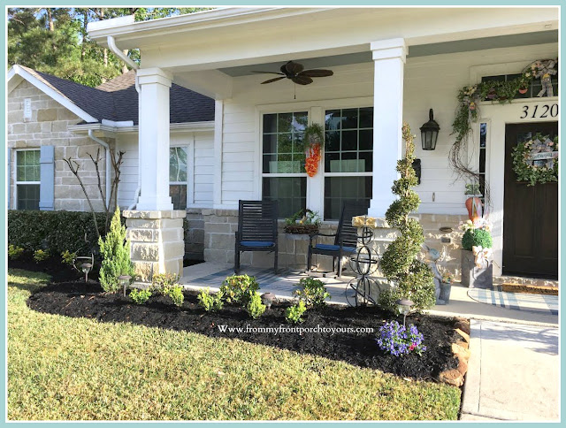 Spring Easter Front Porch-Rocking Chairs-Grandin Road-Carrot Tulip Wreath-Curb Appeal-From My Front Porch To Yours