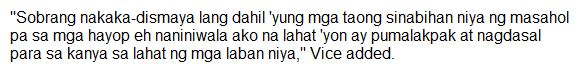 Vice Ganda stated that he has no plans on voting for Manny Pacquiao!