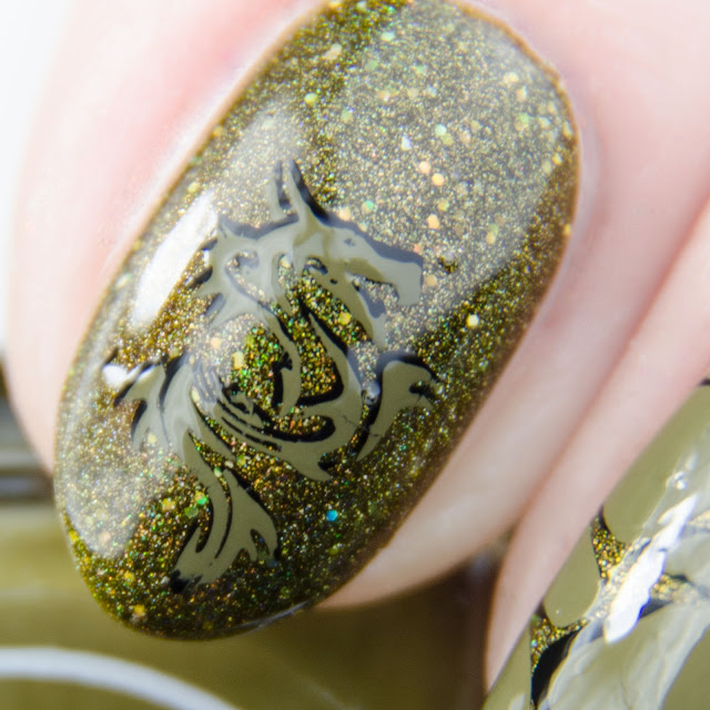 "Painted Polish ""Stamped in Moss"" stamping swatch"
