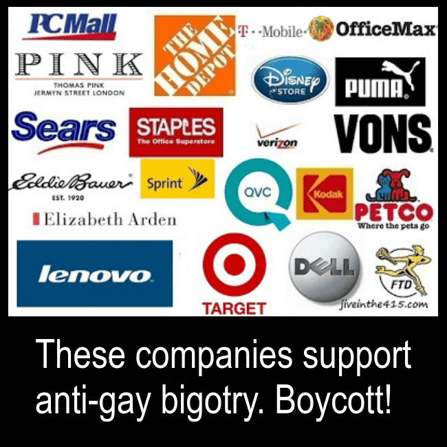 A white background with the corporate logos for Lenovo, Target, Dell, FTD, Home Depot, Sears, Staples, QVC and Puma. These companies currently support the Christian Values Network and anti-gay bigotry.
