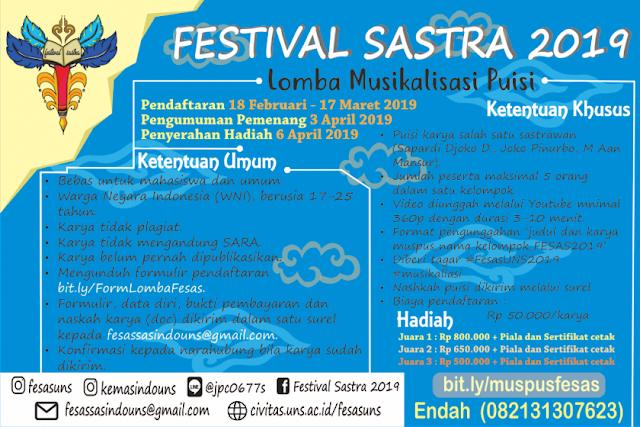 Lomba Musikalisasi Puisi Festival Sastra 2019 Mahasiswa & Umum