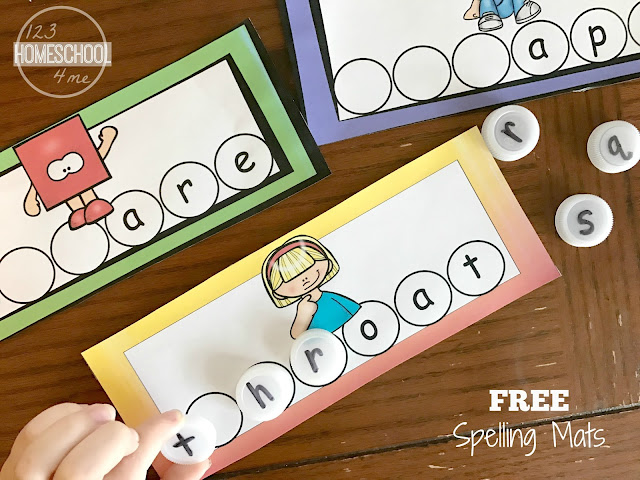 Consonant Clusters free printable spelling mats for first grade and 2nd grade students