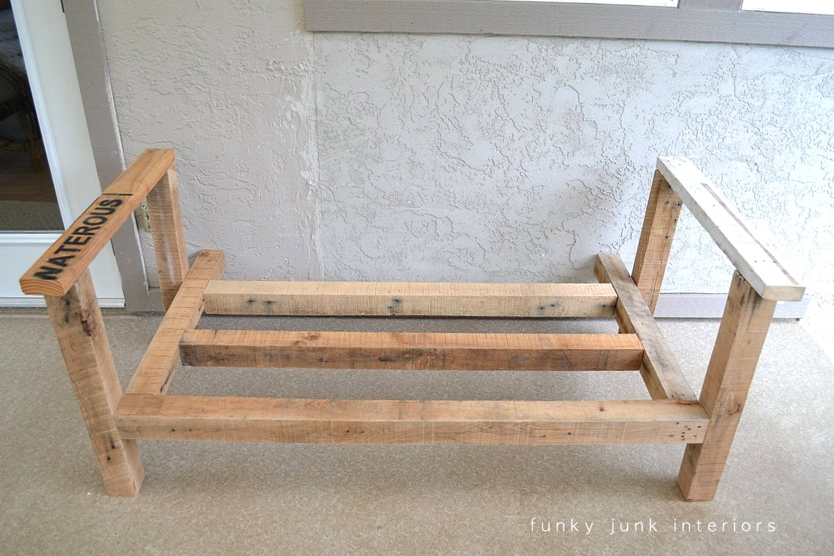 Building The Frame How I Built Pallet Wood Sofa Part 2 Via Funky Junk Interiors