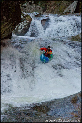 Will Dowling sliding down the last pitch of Mortal Combat, Chris Baer, Raven Fork, NC