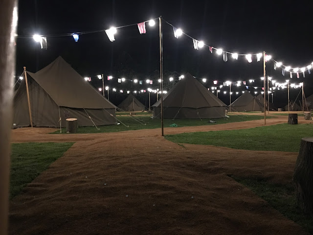 night time view of Explorer Glamping Chessington