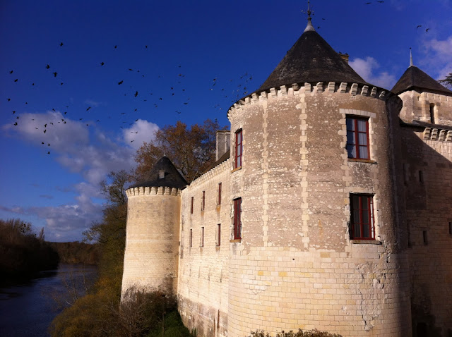 Chateau de La Guerche on the river Creuse with birds flying overhead