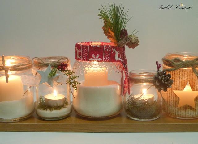 navidad-centro-mesa-frascos-reciclados