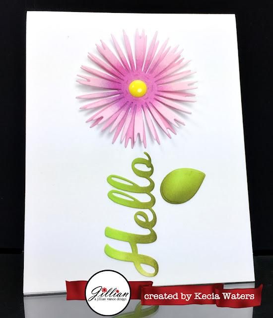 AJVD, Kecia Waters, Distress Inks, flower, hello