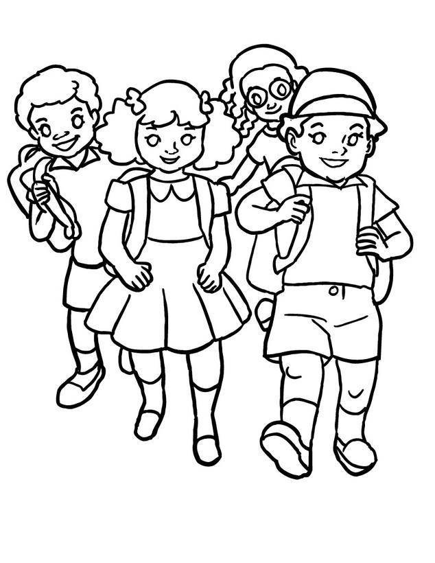Niños Regresando A Clases Para Colorear Y Pintar Colorea